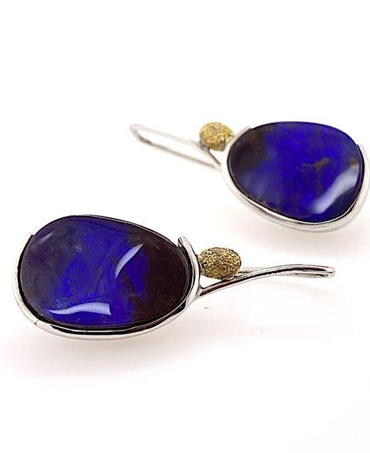 Elektron-vivid-blue -boulderopal-earrings-gold-silver-hooks