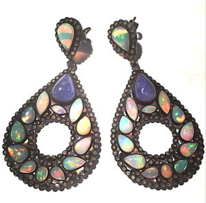 Peacock-opal-earrings-blackened-silver
