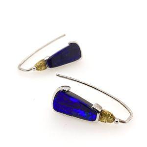 Elektron-boulder-blue-opal-earrings