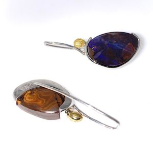 Elektron-purple-boulderopal-earrings-gold-silver-hooks-reverse