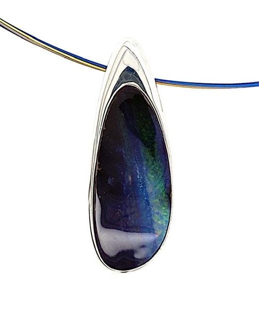 blue-opal-Slide-pendant-Silver