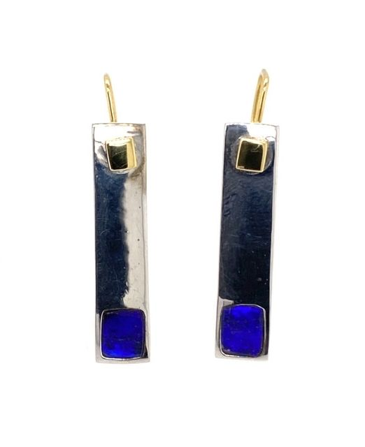 Kubik-earrings-blue-boulder-opal-silver-gold