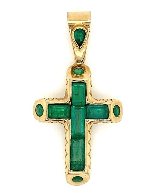 Emerald-gold-cross