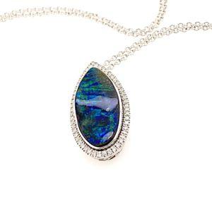 White-gold-black-boulder-opal-pendant-and-chain-bolda