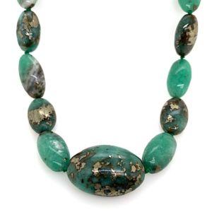 Elliptical-pyritised-emerald-bead-strand