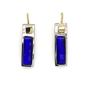 Kubik-earrings-blue-boulder-opal-silver-and-gold-Sheppards-hooks
