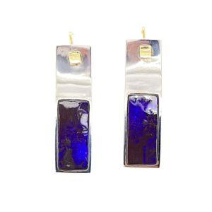 Bolda-earrings-blue-boulder-opal-silver-and-gold-kubik