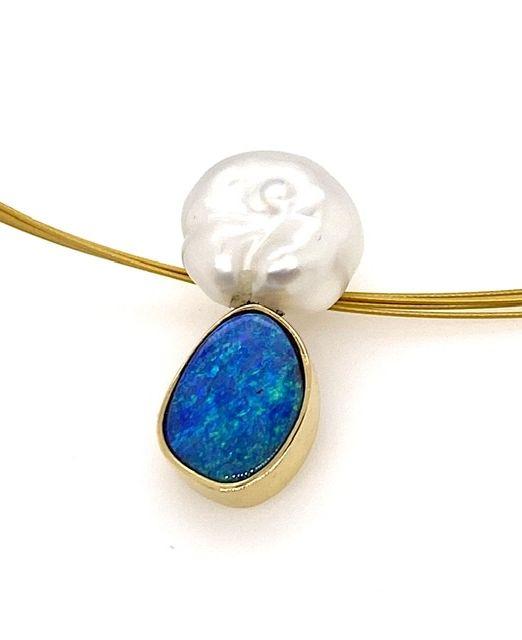Boulder-opal-keshi-pearl-gold-pendant