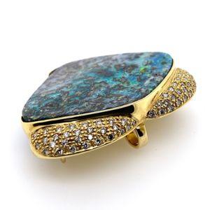Kosmos-be-bolda-boulder-matrix-opal-pendant-brooch-pave