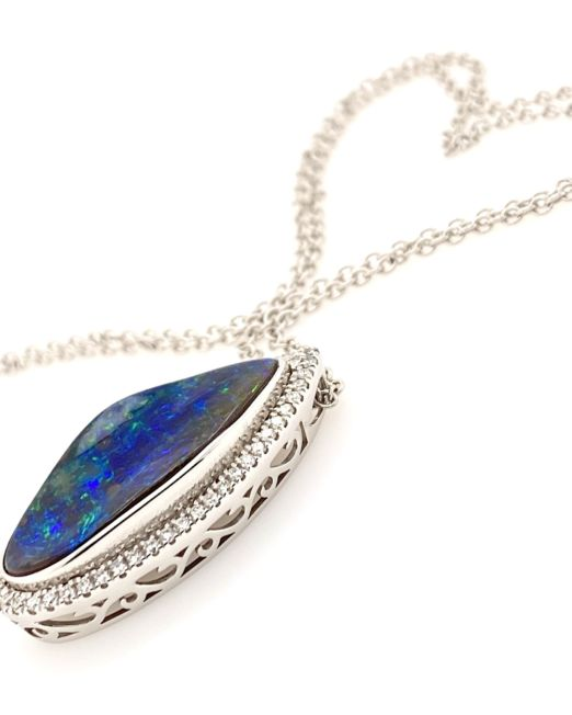 White-gold-black-boulder-opal-pendant-and-chain