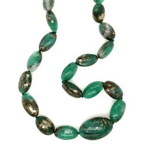 Elliptical-pyritised-emerald-beads