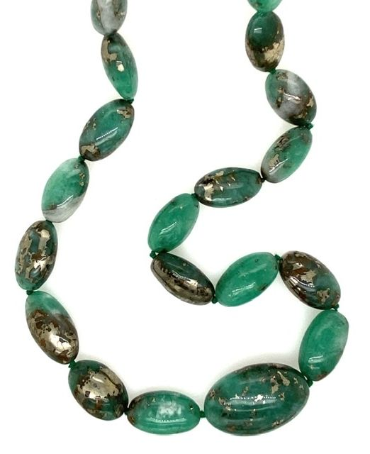 Elliptical-pyritised-emerald-beads
