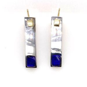 Kubik-earrings-blue-boulder-opal