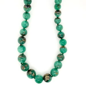 Emerald-pyrite-included-beads