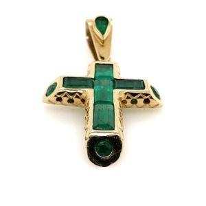 Emerald-18K-gold-cross