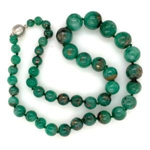 Emerald-pyrite-included-graduated-bead-strand
