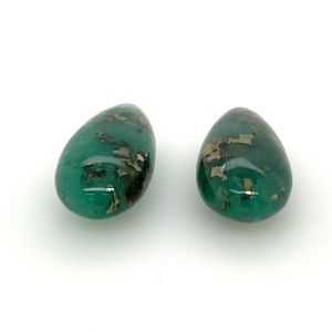 Emerald-pyritized-drops-pair-drilled