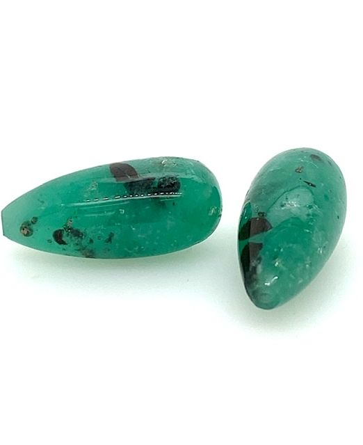 Columbian-Emerald-pyritized-drops-pair-drilled