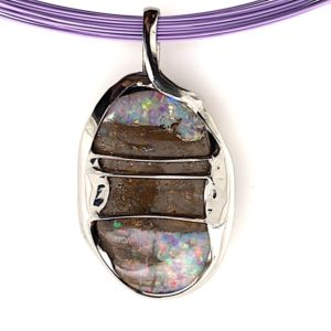 Silver-wrapped-Boulder-koroit-opal-pink-multiwire
